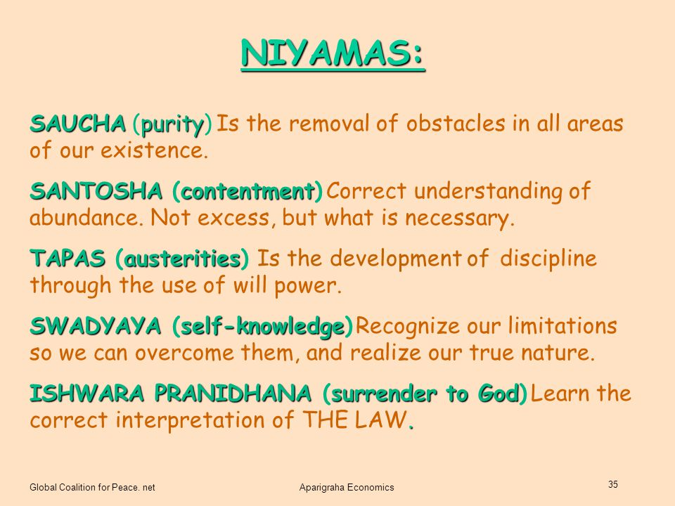 NIYAMAS: SAUCHA (purity) Is the removal of obstacles in all areas of our existence.