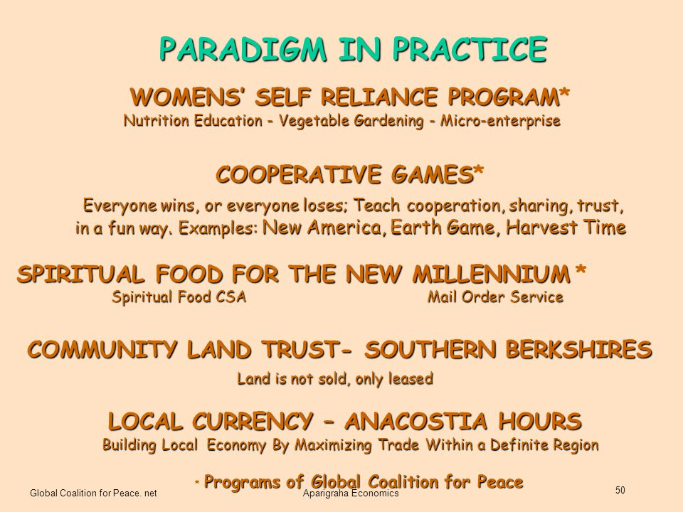 PARADIGM IN PRACTICE WOMENS' SELF RELIANCE PROGRAM* COOPERATIVE GAMES*