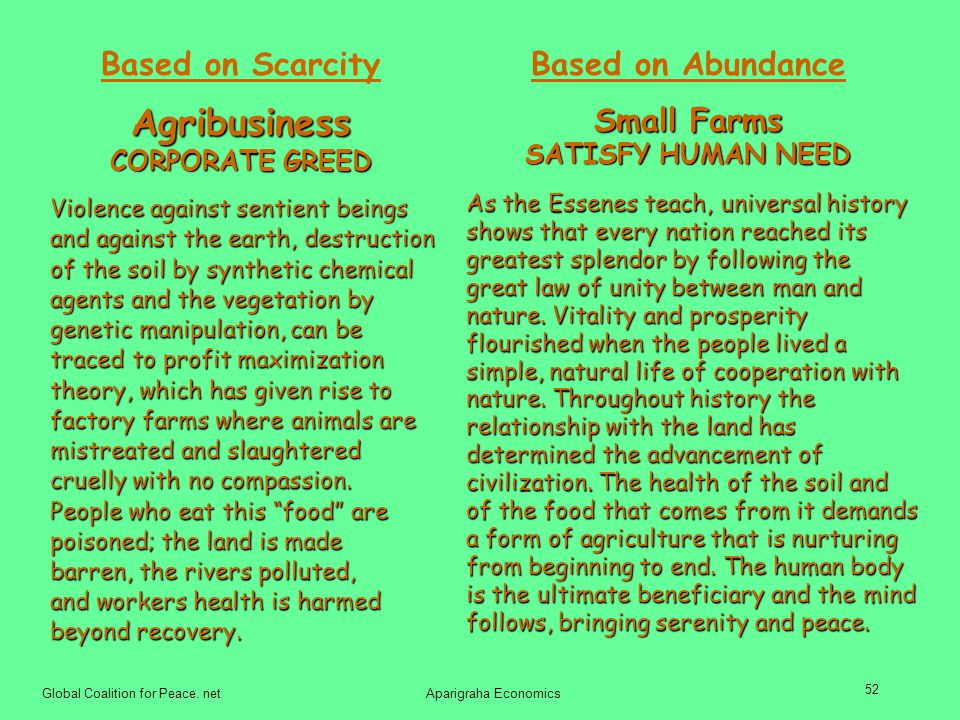 Agribusiness Based on Abundance Based on Scarcity Small Farms