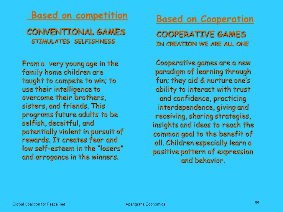 Based on Cooperation CONVENTIONAL GAMES COOPERATIVE GAMES