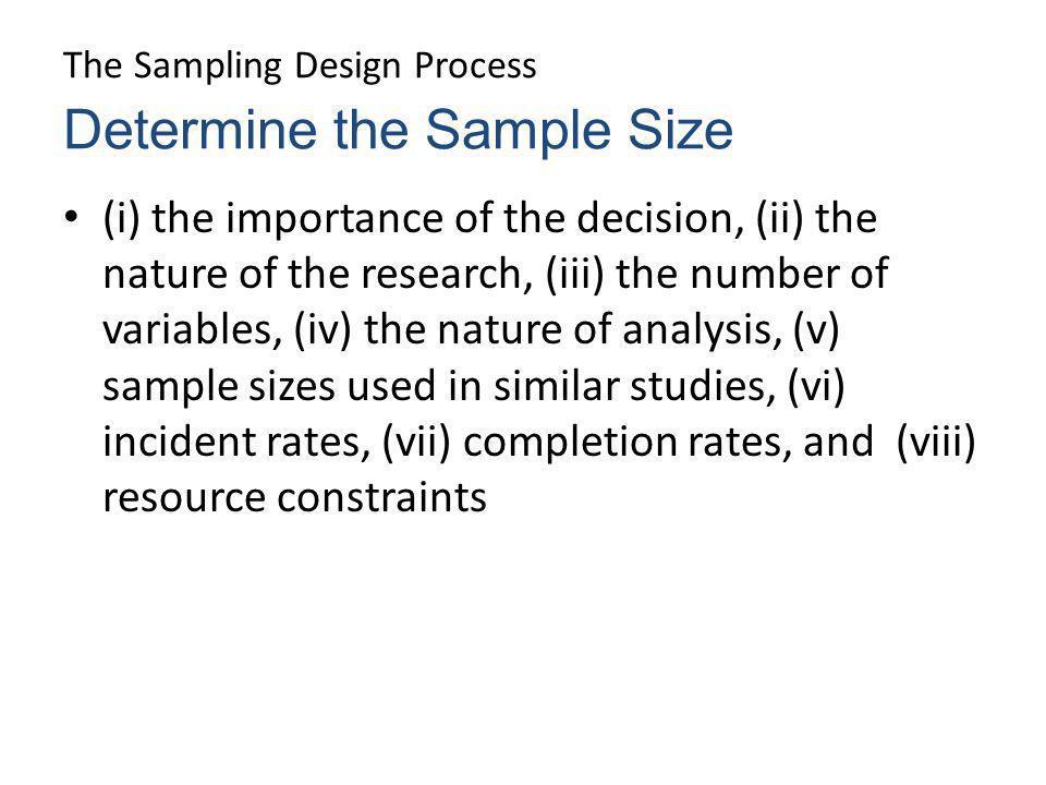 The Sampling Design Process