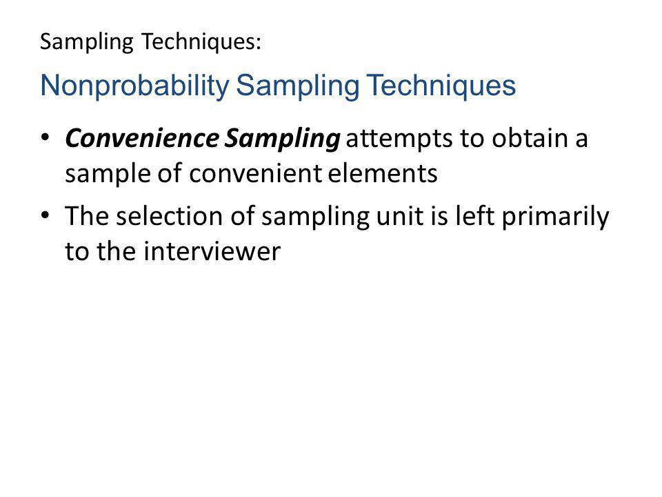 Nonprobability Sampling Techniques
