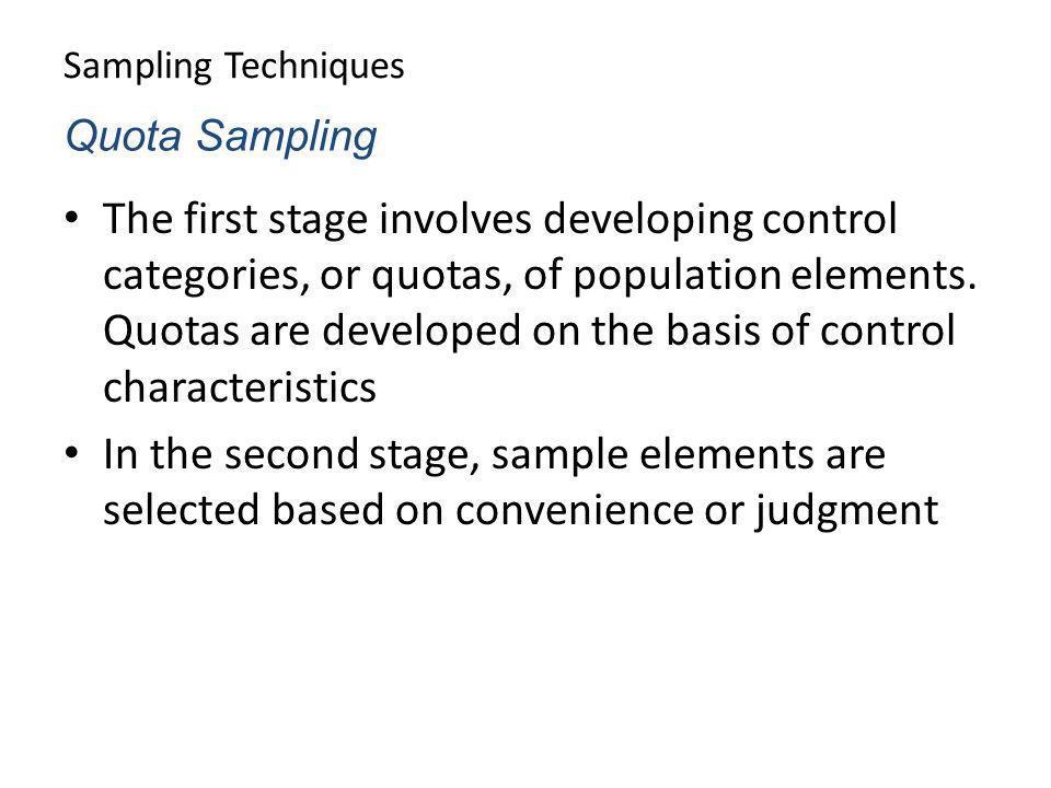 Sampling Techniques Quota Sampling.