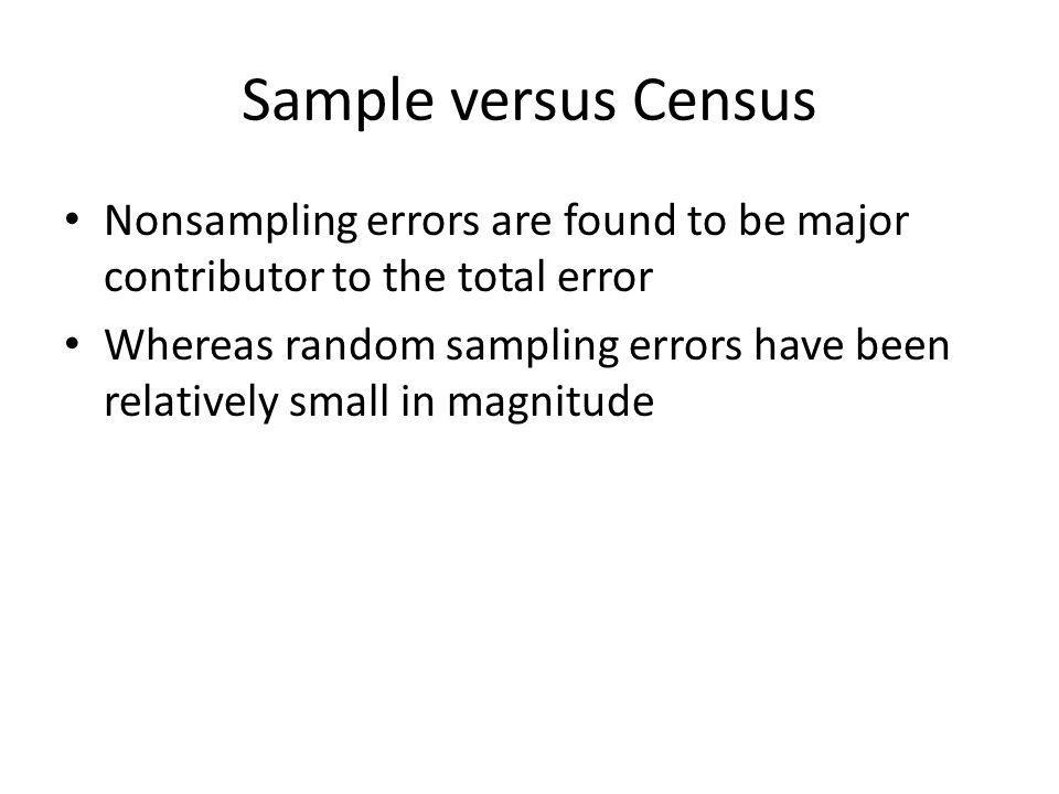 Sample versus Census Nonsampling errors are found to be major contributor to the total error.