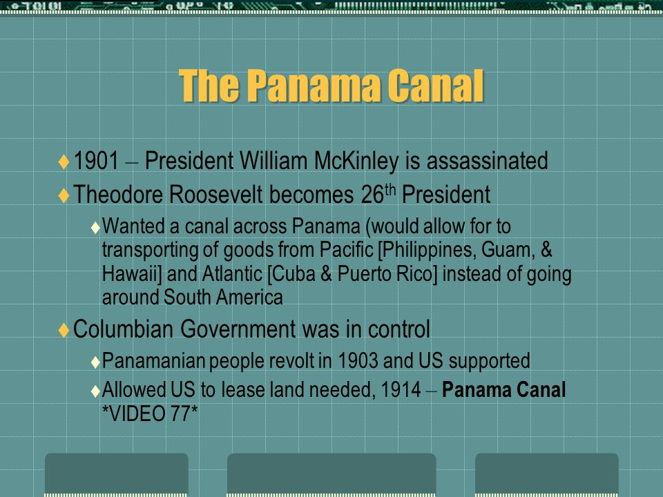 The Panama Canal 1901 – President William McKinley is assassinated