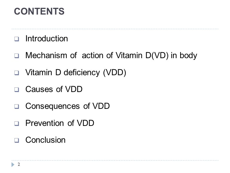 CONTENTS Introduction Mechanism of action of Vitamin D(VD) in body