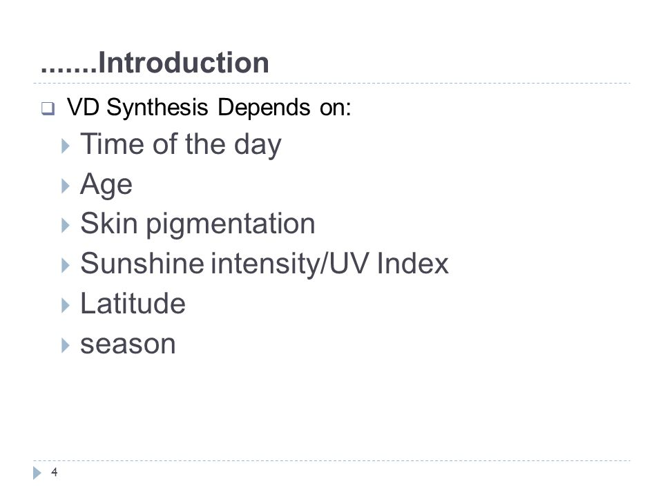 Sunshine intensity/UV Index Latitude season