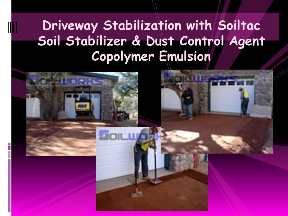 Driveway Stabilization with Soiltac Soil Stabilizer & Dust Control Agent Copolymer Emulsion