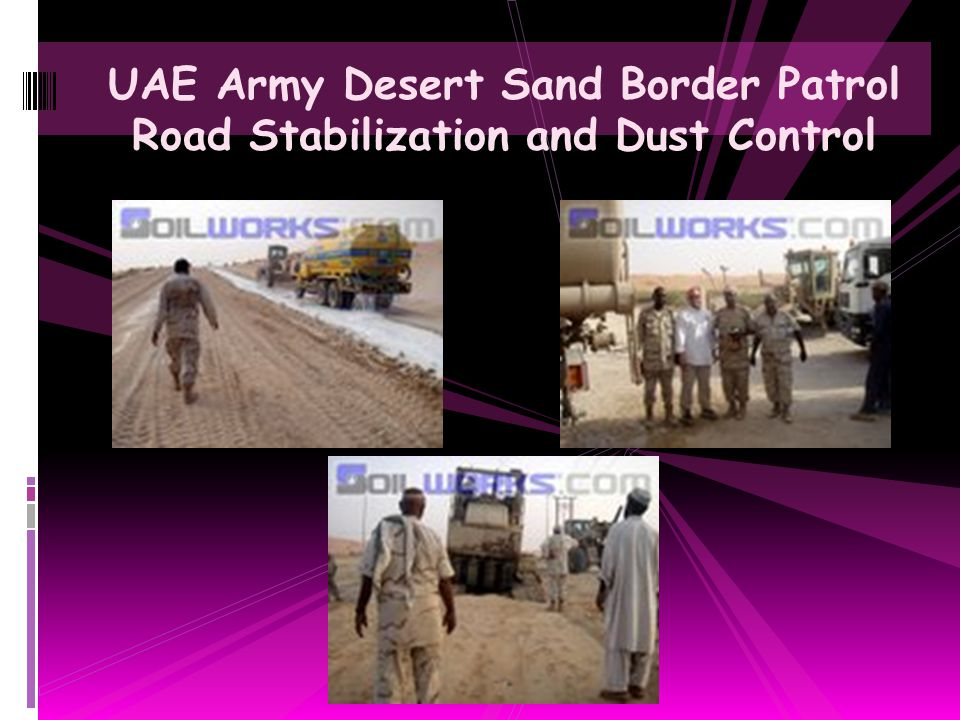UAE Army Desert Sand Border Patrol Road Stabilization and Dust Control