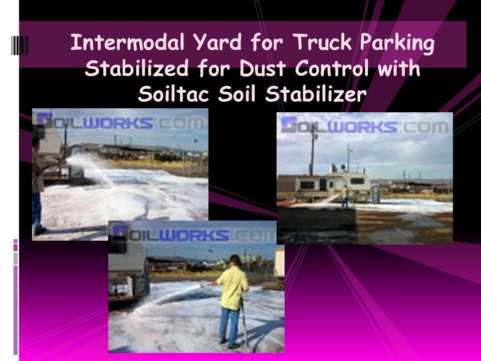 Intermodal Yard for Truck Parking Stabilized for Dust Control with Soiltac Soil Stabilizer