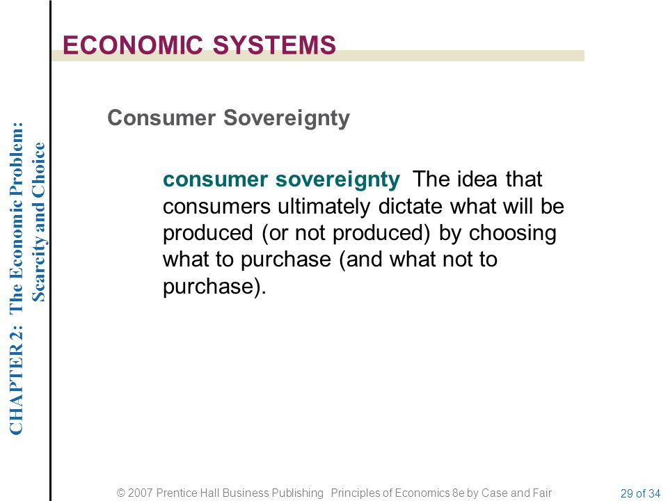 ECONOMIC SYSTEMS Consumer Sovereignty