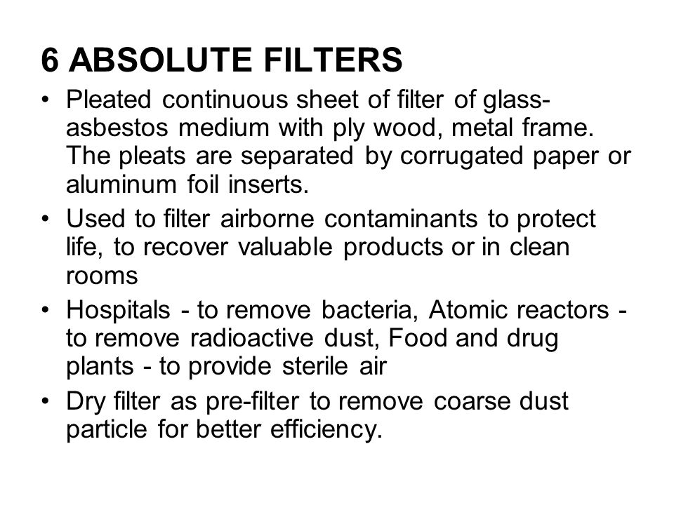 6 ABSOLUTE FILTERS