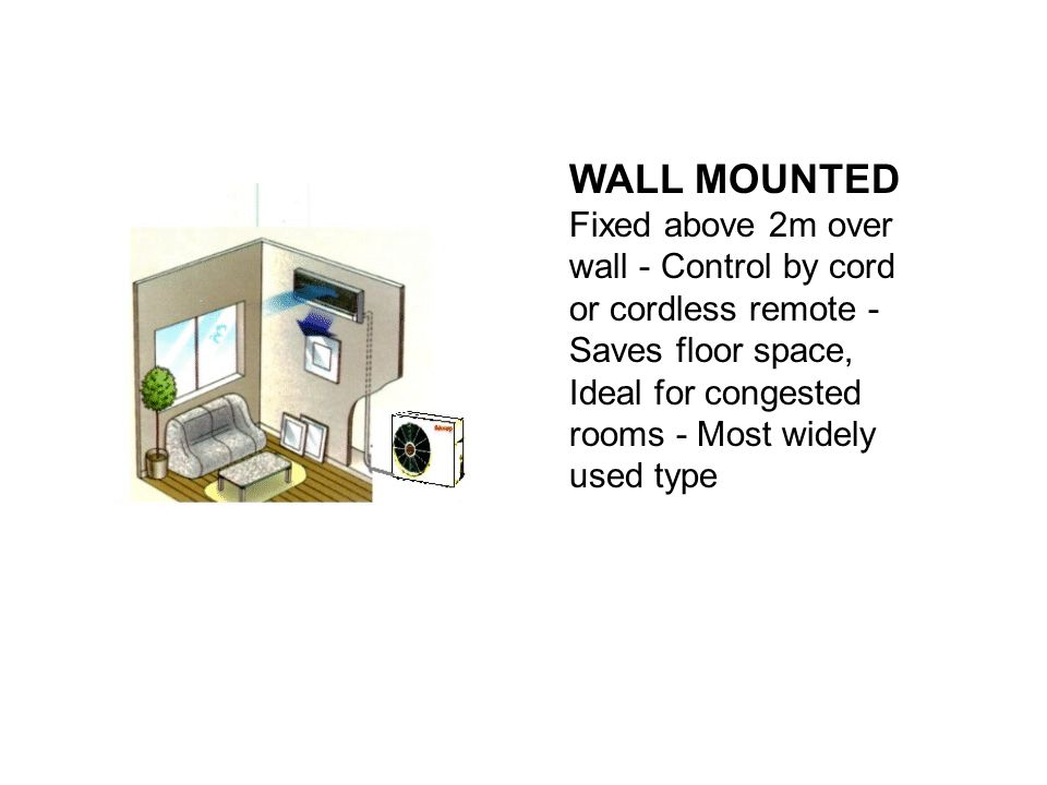 WALL MOUNTED Fixed above 2m over wall - Control by cord or cordless remote - Saves floor space, Ideal for congested rooms - Most widely used type.