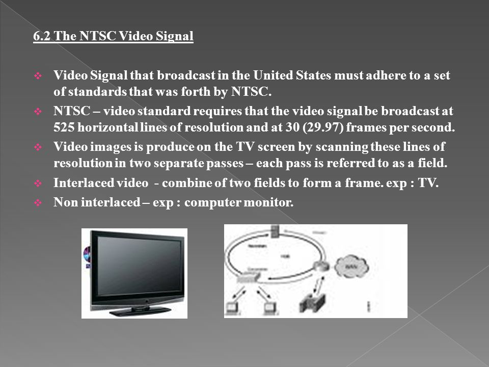 6.2 The NTSC Video Signal Video Signal that broadcast in the United States must adhere to a set of standards that was forth by NTSC.