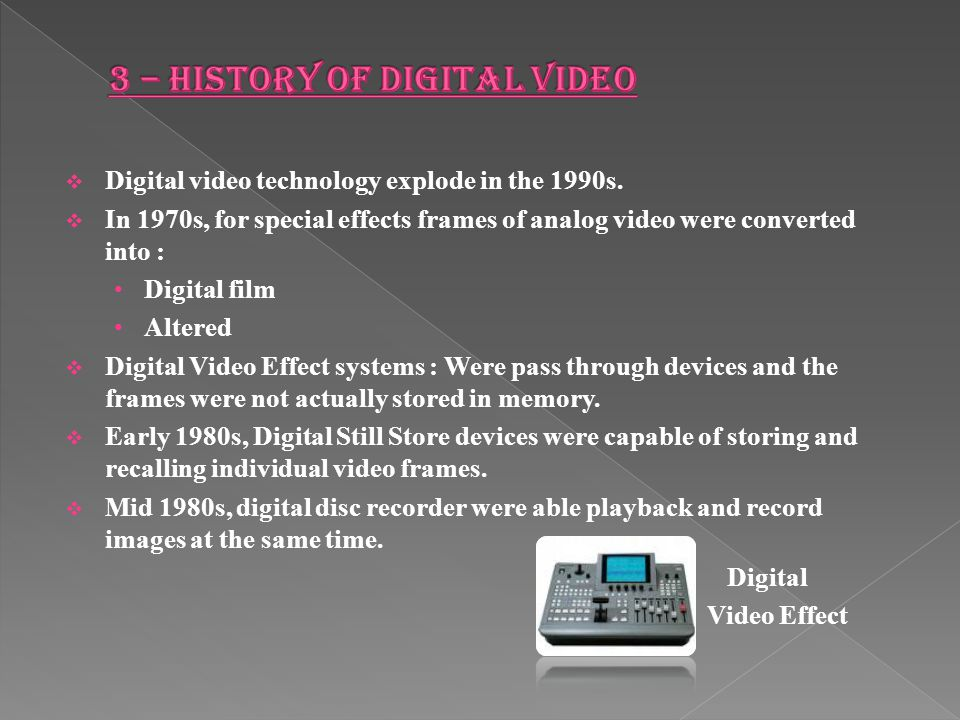 3 – HISTORY OF DIGITAL VIDEO