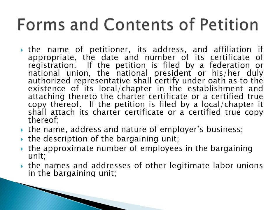 Forms and Contents of Petition