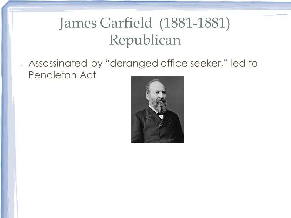 James Garfield (1881-1881) Republican