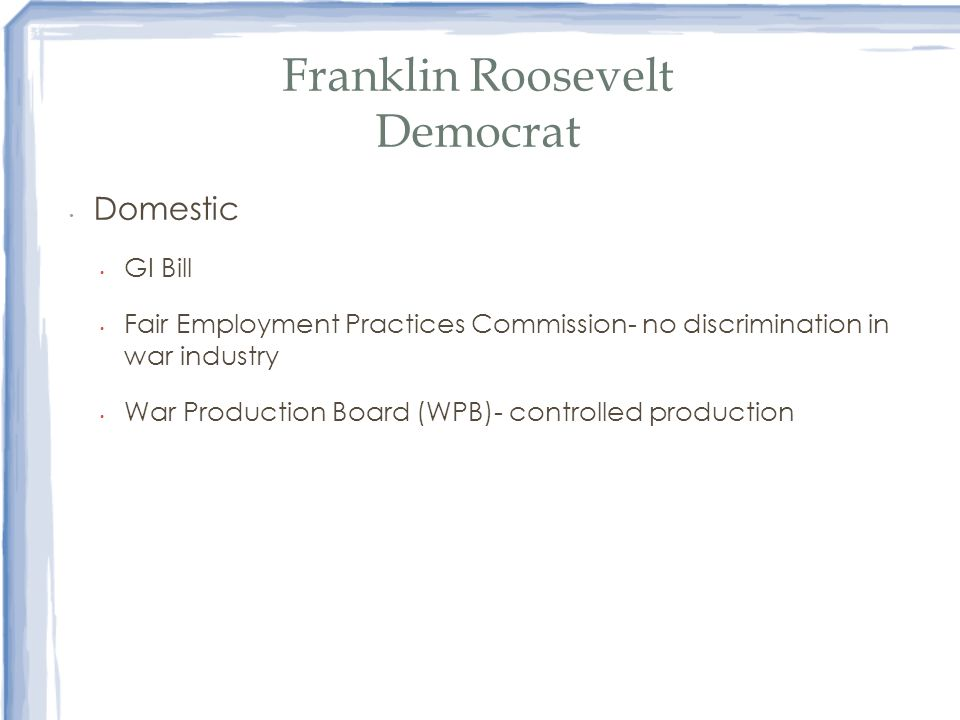 Franklin Roosevelt Democrat