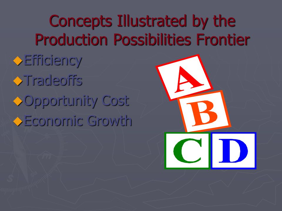 Concepts Illustrated by the Production Possibilities Frontier