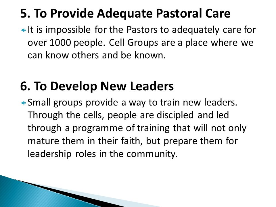 5. To Provide Adequate Pastoral Care