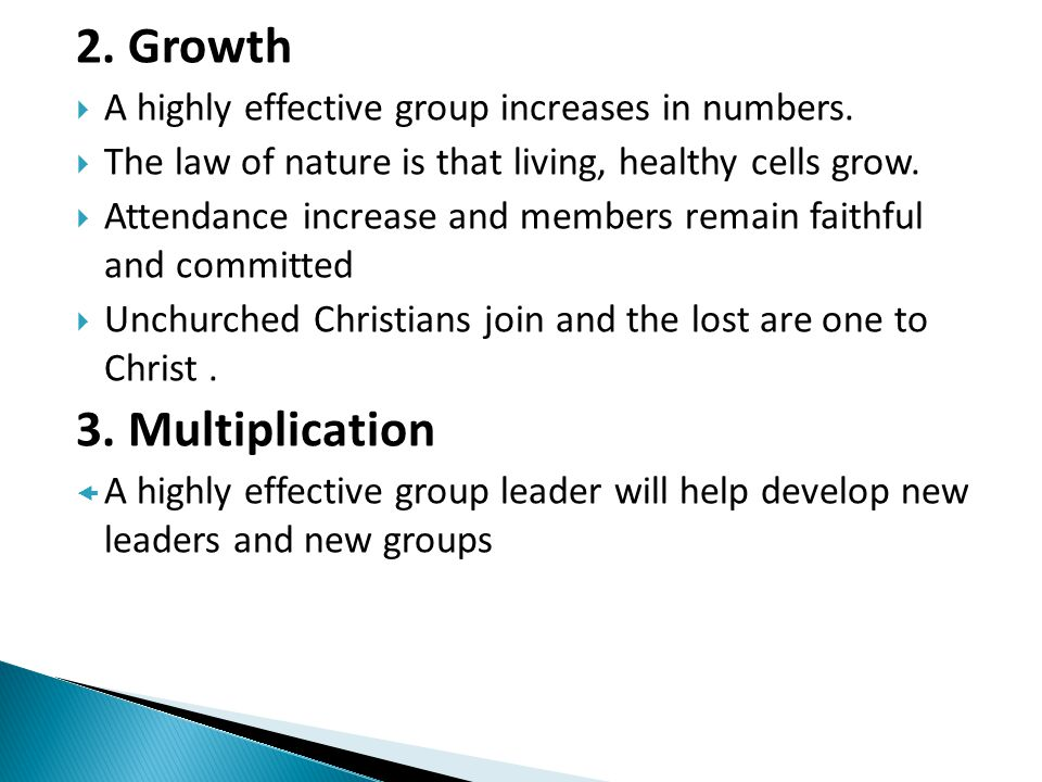 2. Growth 3. Multiplication