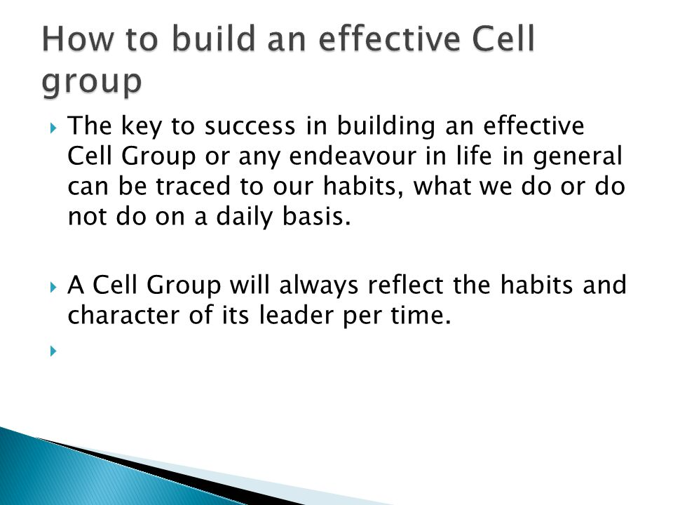 How to build an effective Cell group
