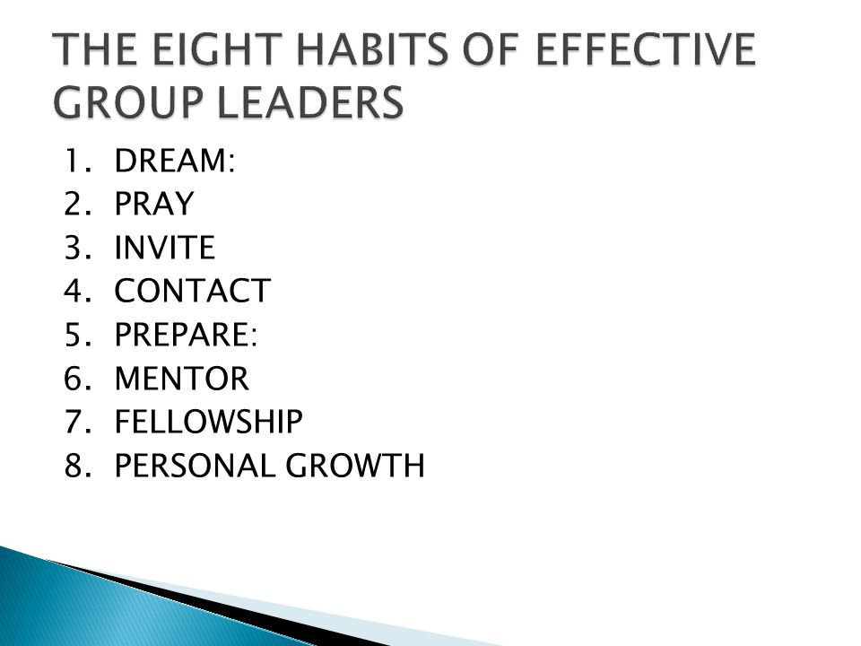 THE EIGHT HABITS OF EFFECTIVE GROUP LEADERS
