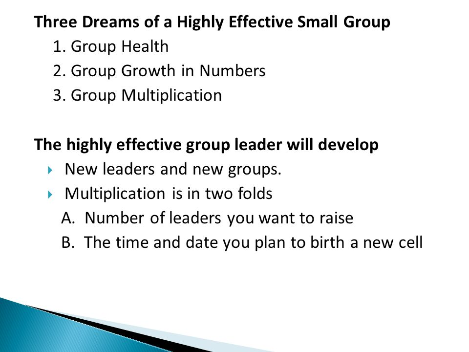Three Dreams of a Highly Effective Small Group