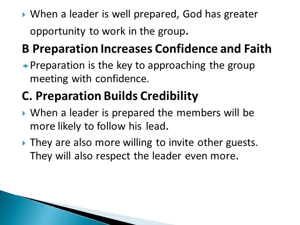 B Preparation Increases Confidence and Faith