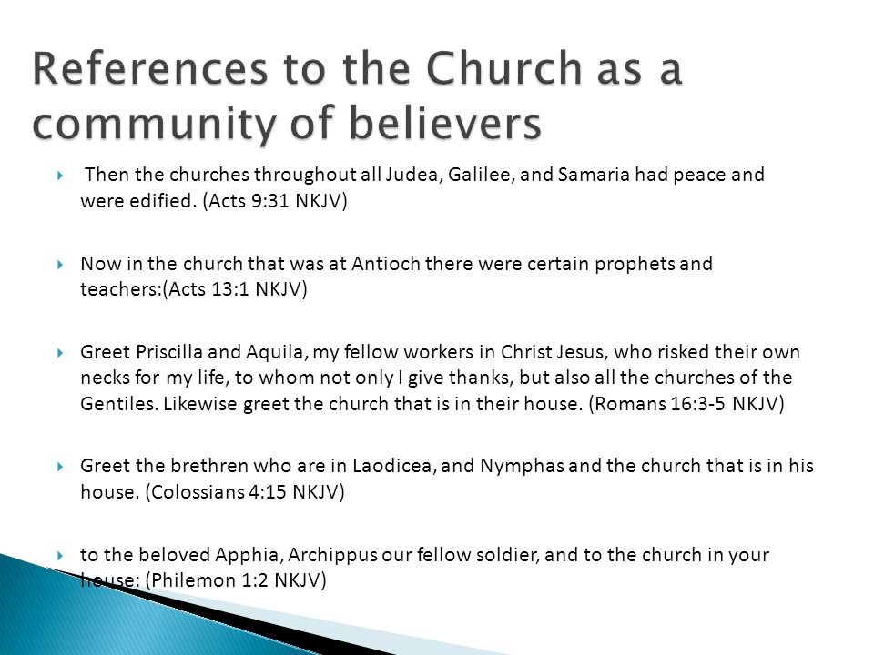 References to the Church as a community of believers
