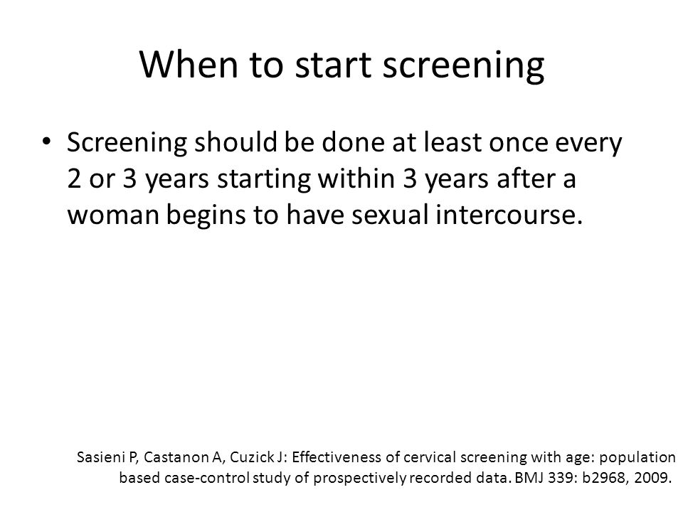 When to start screening