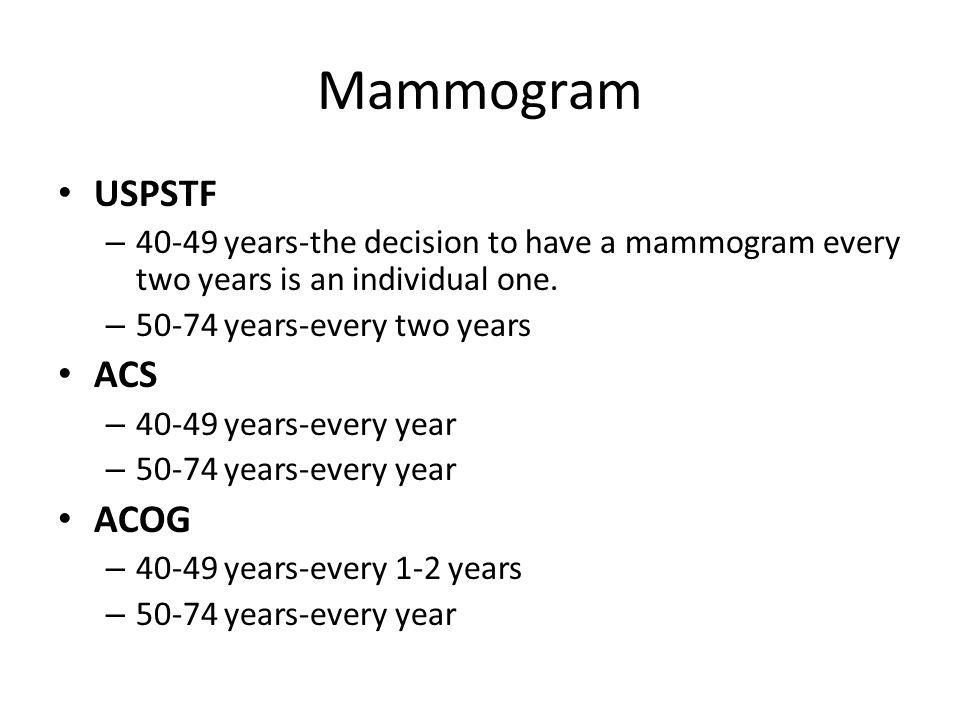 Mammogram USPSTF ACS ACOG