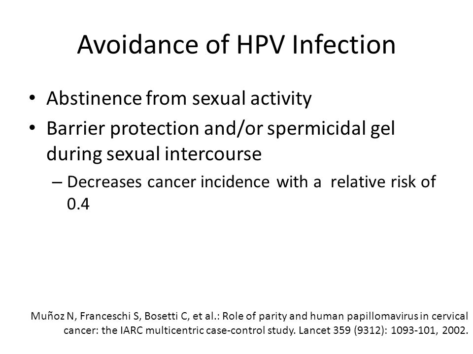 Avoidance of HPV Infection