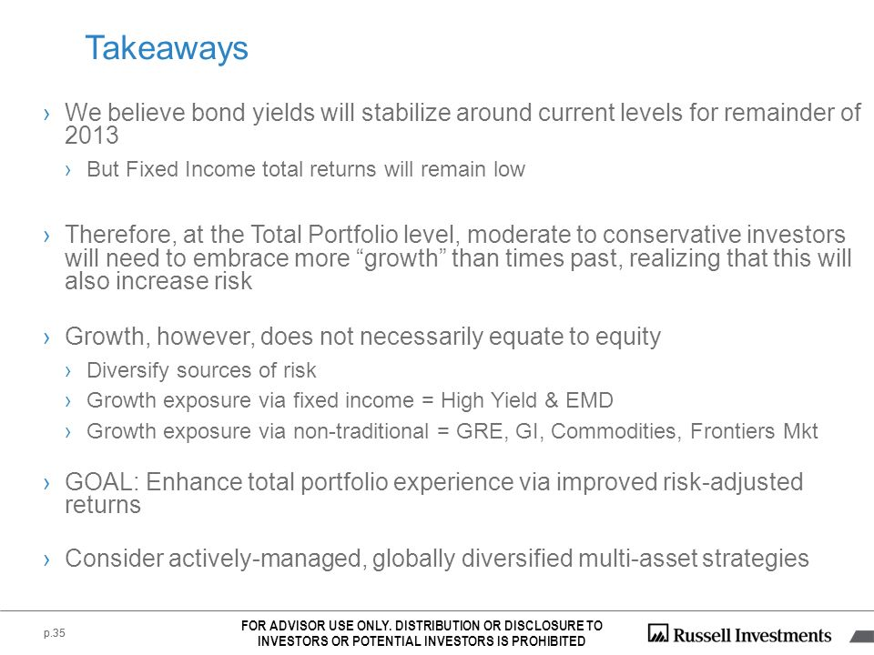 Takeaways We believe bond yields will stabilize around current levels for remainder of 2013. But Fixed Income total returns will remain low.