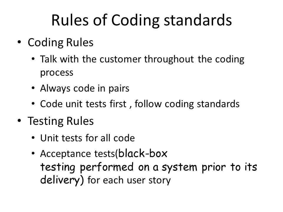 Rules of Coding standards