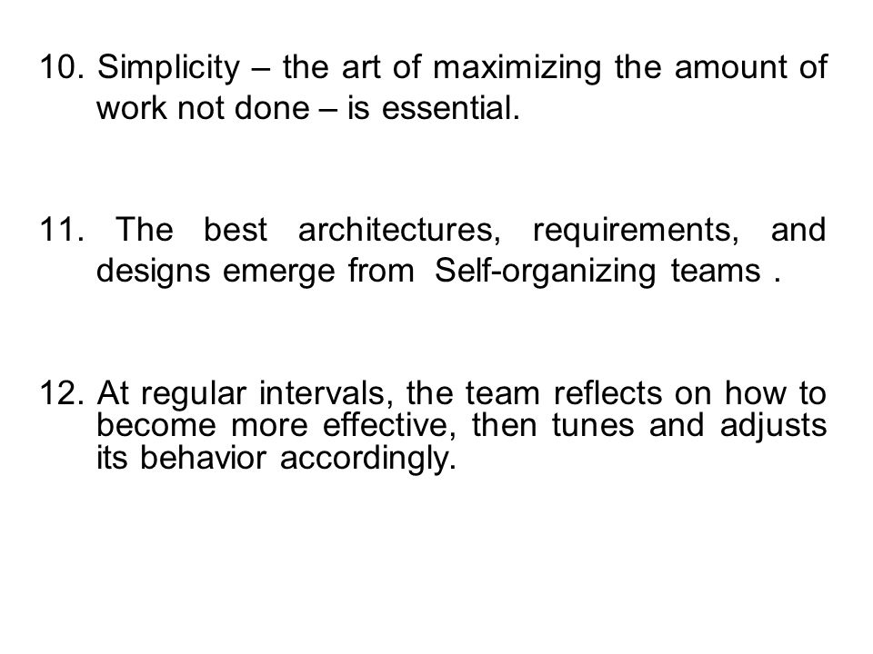 10. Simplicity – the art of maximizing the amount of work not done – is essential.