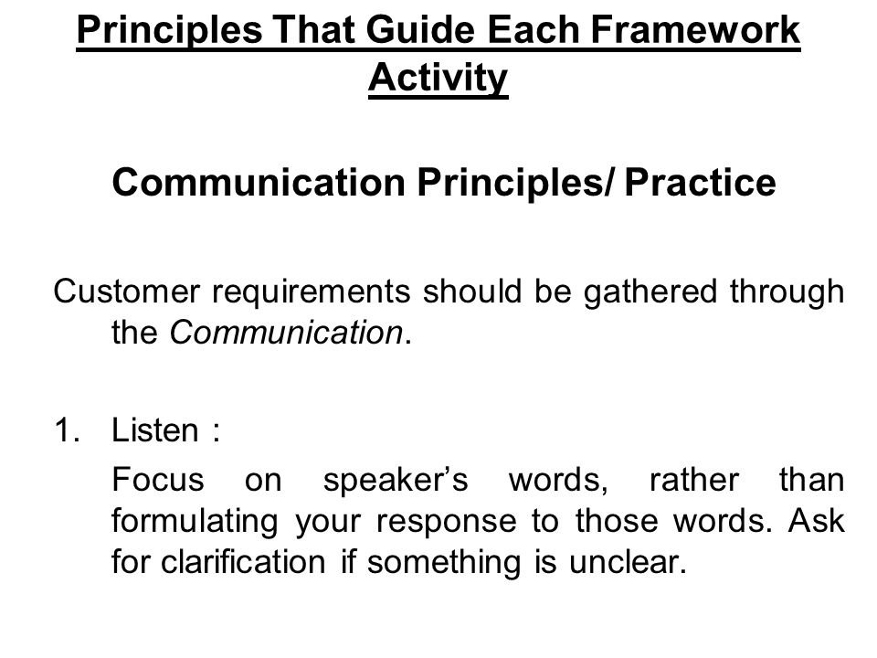 Principles That Guide Each Framework Activity