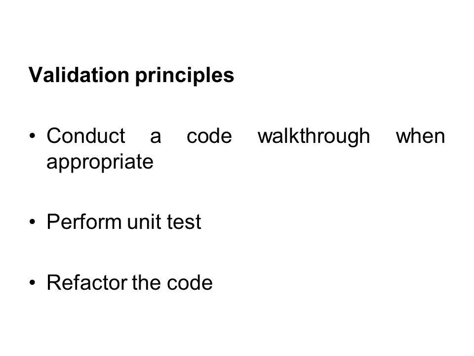 Validation principles
