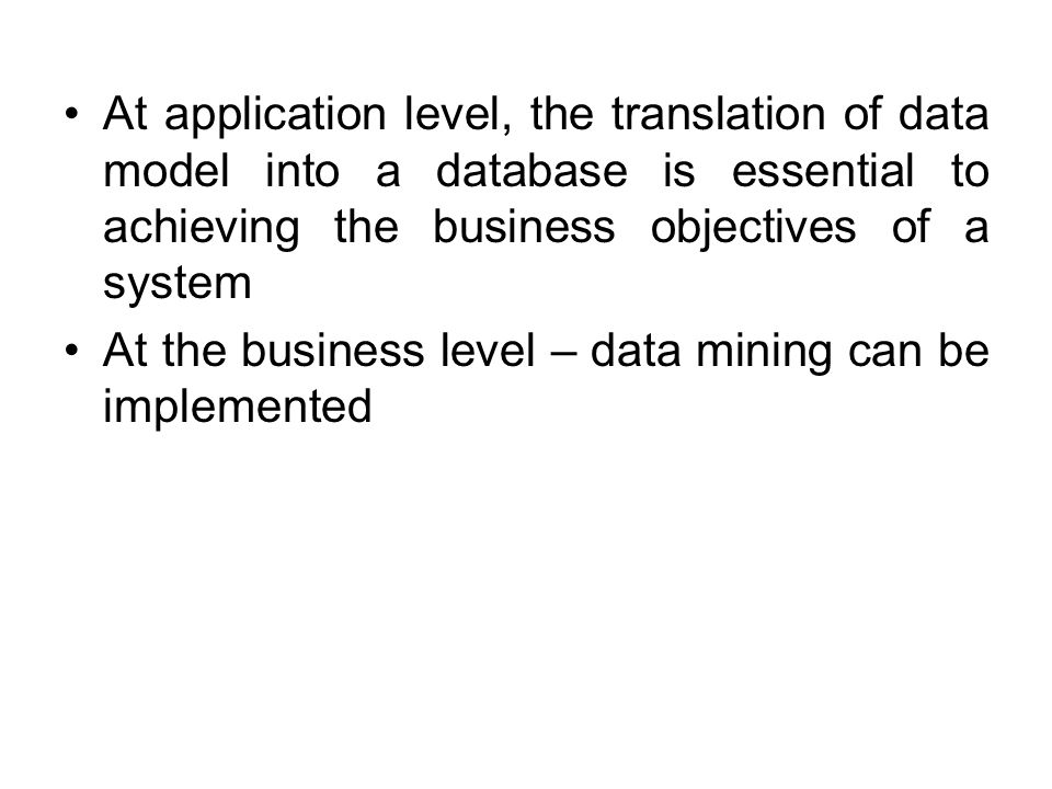 At application level, the translation of data model into a database is essential to achieving the business objectives of a system
