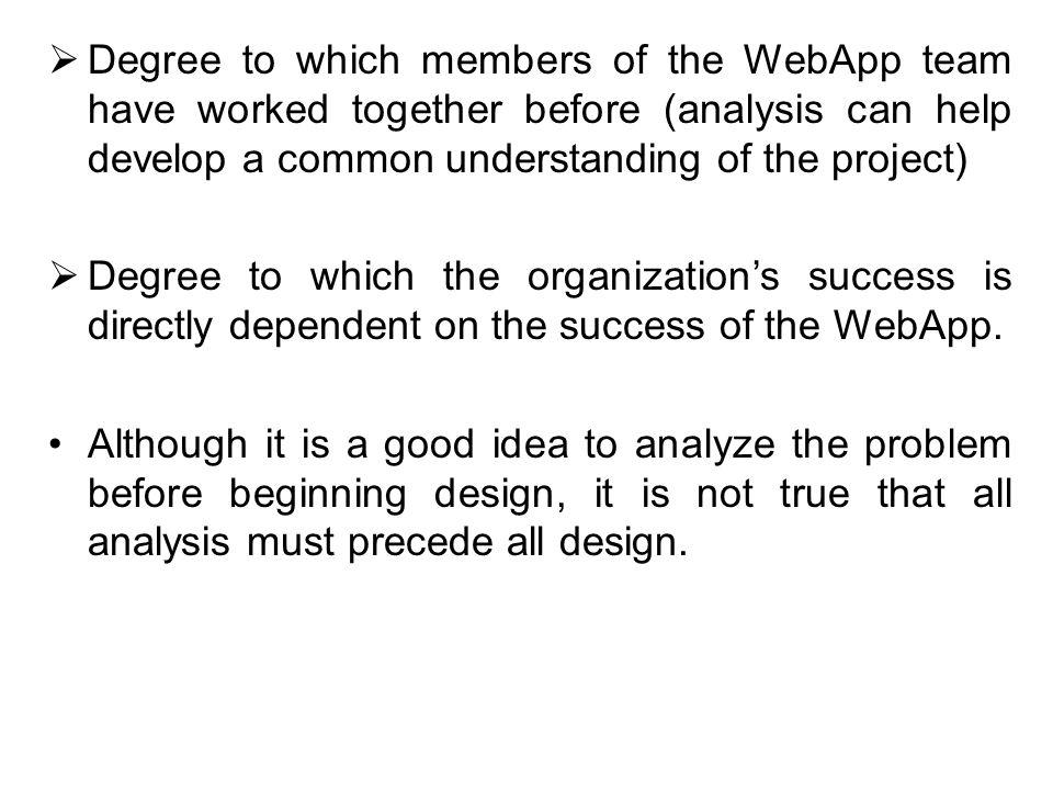 Degree to which members of the WebApp team have worked together before (analysis can help develop a common understanding of the project)