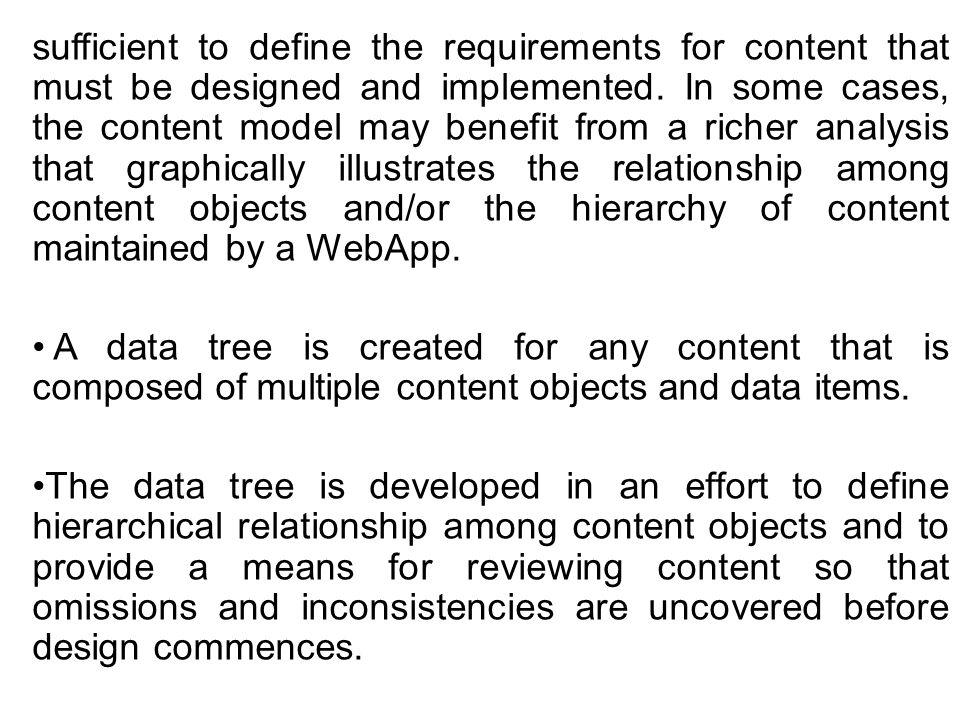 sufficient to define the requirements for content that must be designed and implemented. In some cases, the content model may benefit from a richer analysis that graphically illustrates the relationship among content objects and/or the hierarchy of content maintained by a WebApp.