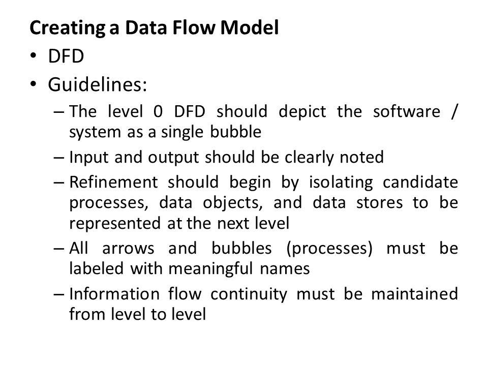 Creating a Data Flow Model DFD Guidelines: