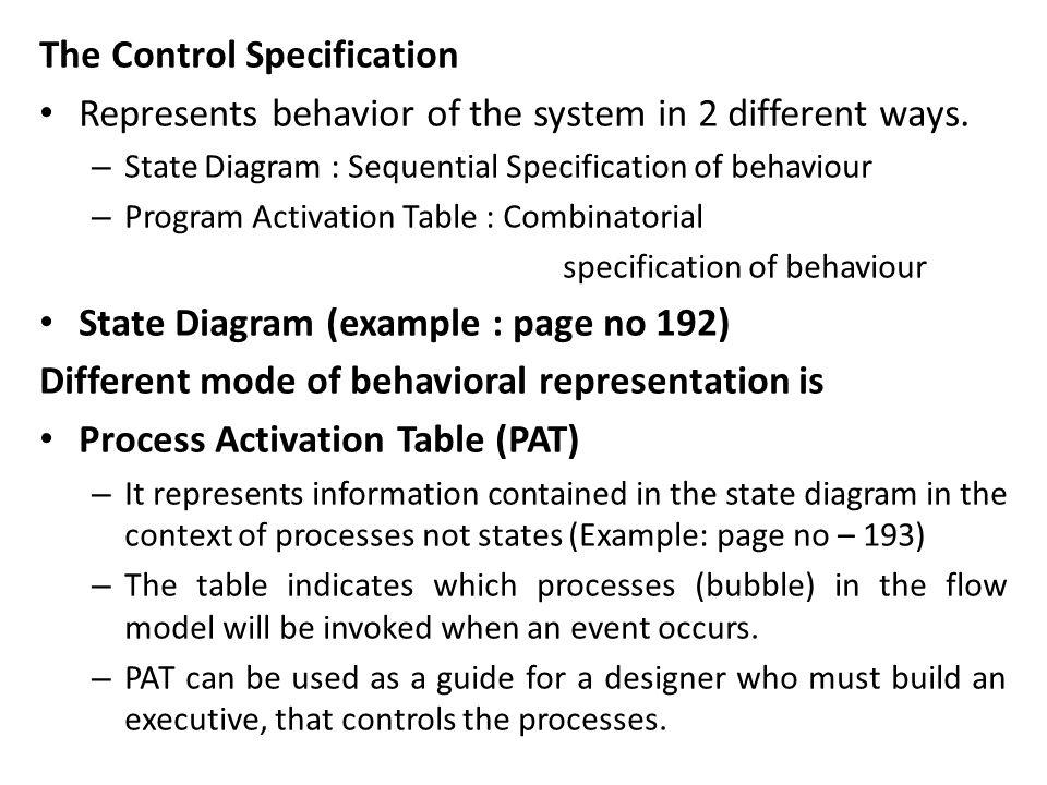 The Control Specification