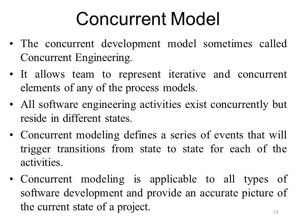 Concurrent Model The concurrent development model sometimes called Concurrent Engineering.