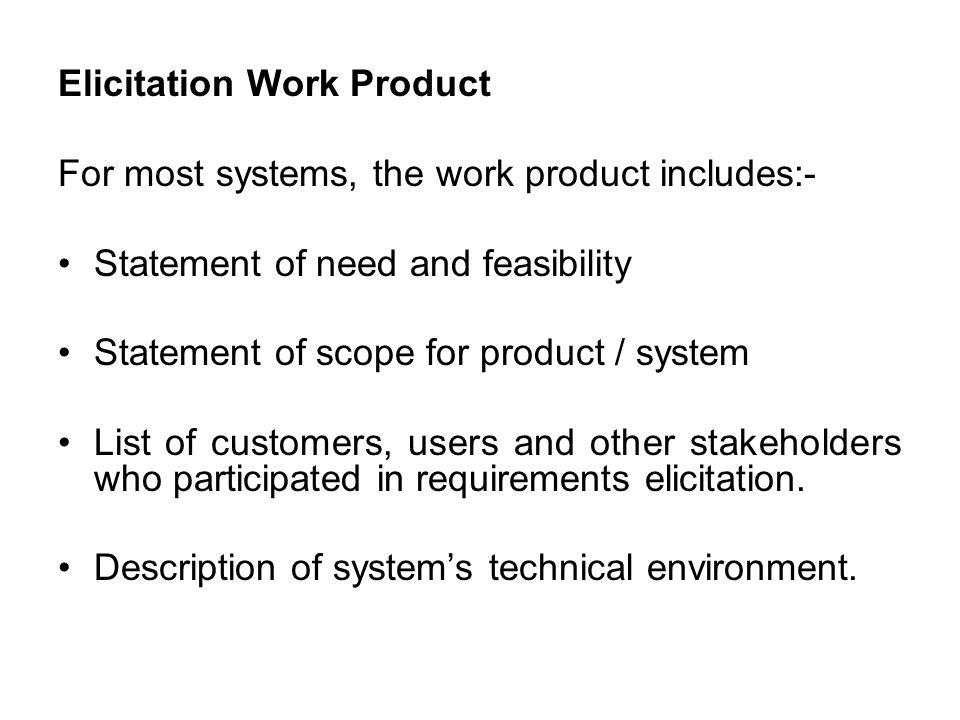 Elicitation Work Product
