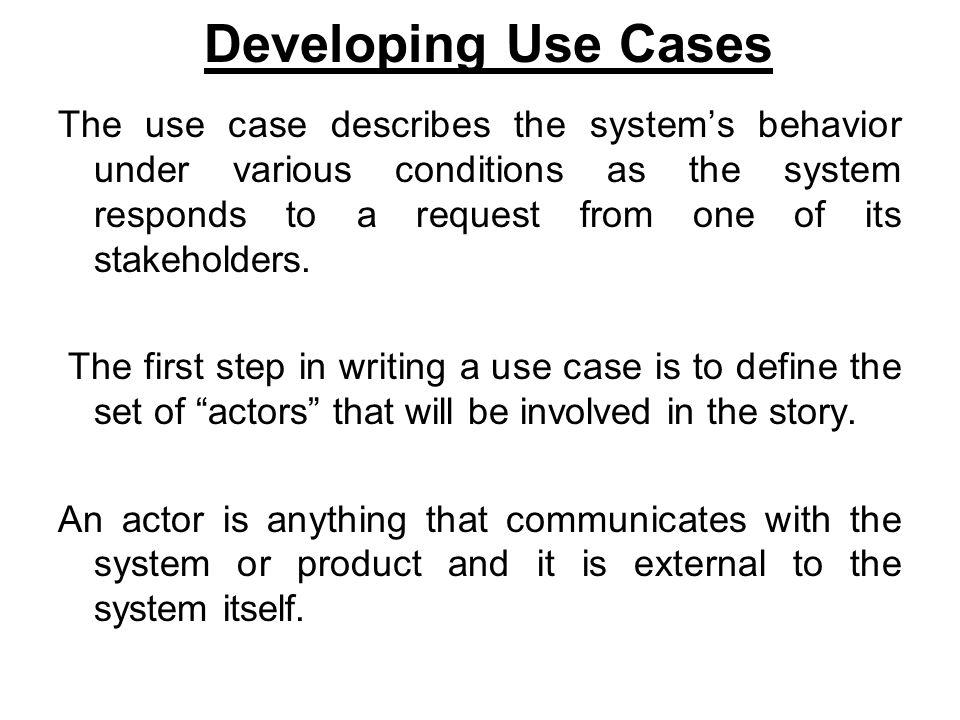 Developing Use Cases