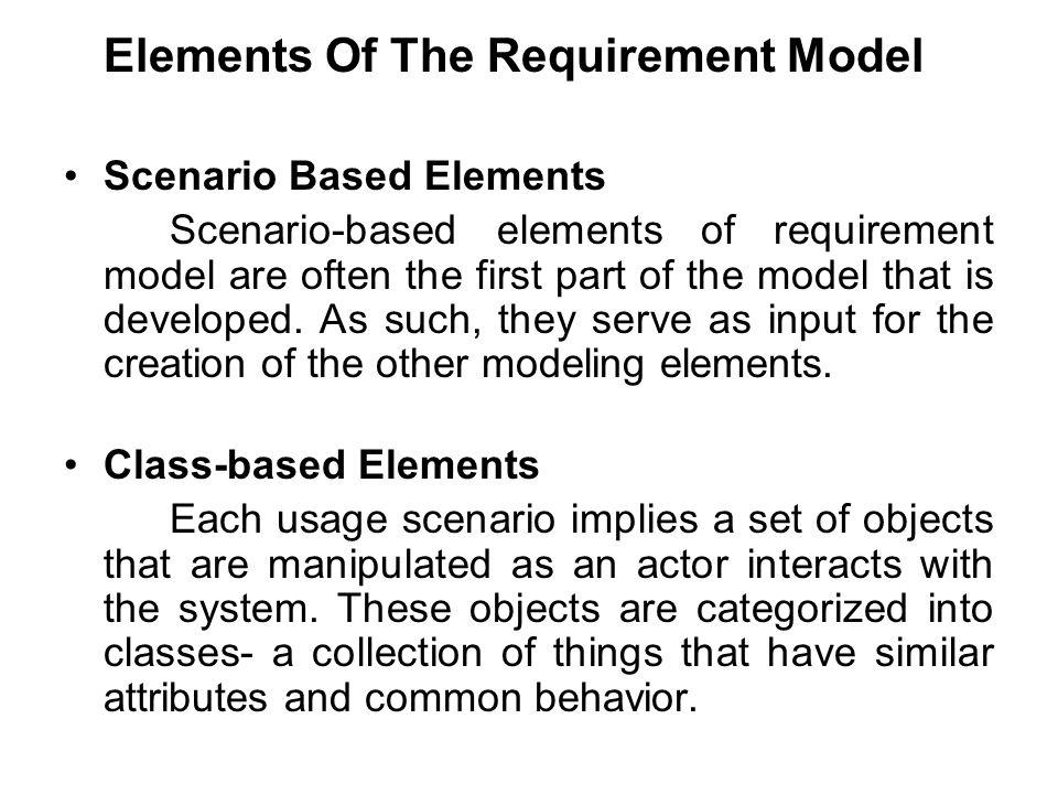 Elements Of The Requirement Model Scenario Based Elements