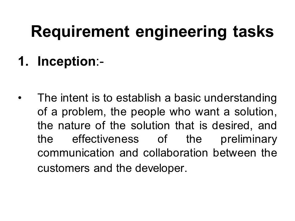 Requirement engineering tasks