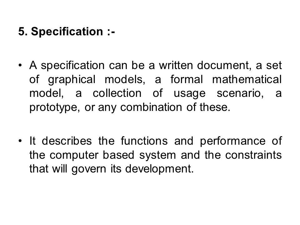 5. Specification :-
