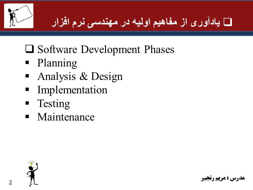 یادآوری از مفاهیم اولیه در مهندسی نرم افزار